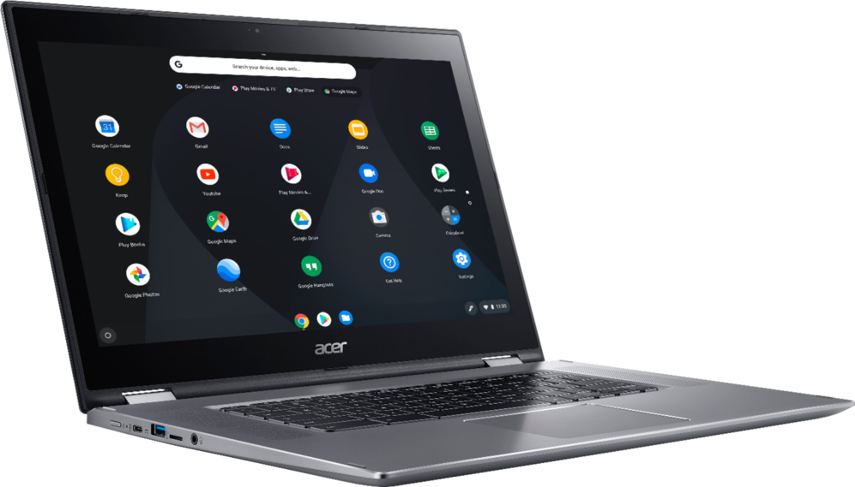 """Angle Zoom. Acer - Spin 15 2-in-1 15.6"""" Touch-Screen Chromebook - Intel Pentium - 4GB Memory - 32GB eMMC Flash Memory - Sparkly Silver."""