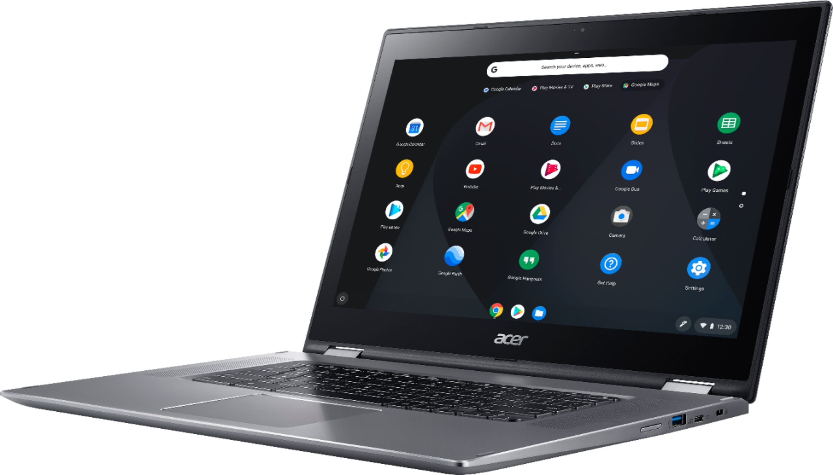 """Left Zoom. Acer - Spin 15 2-in-1 15.6"""" Touch-Screen Chromebook - Intel Pentium - 4GB Memory - 32GB eMMC Flash Memory - Sparkly Silver."""