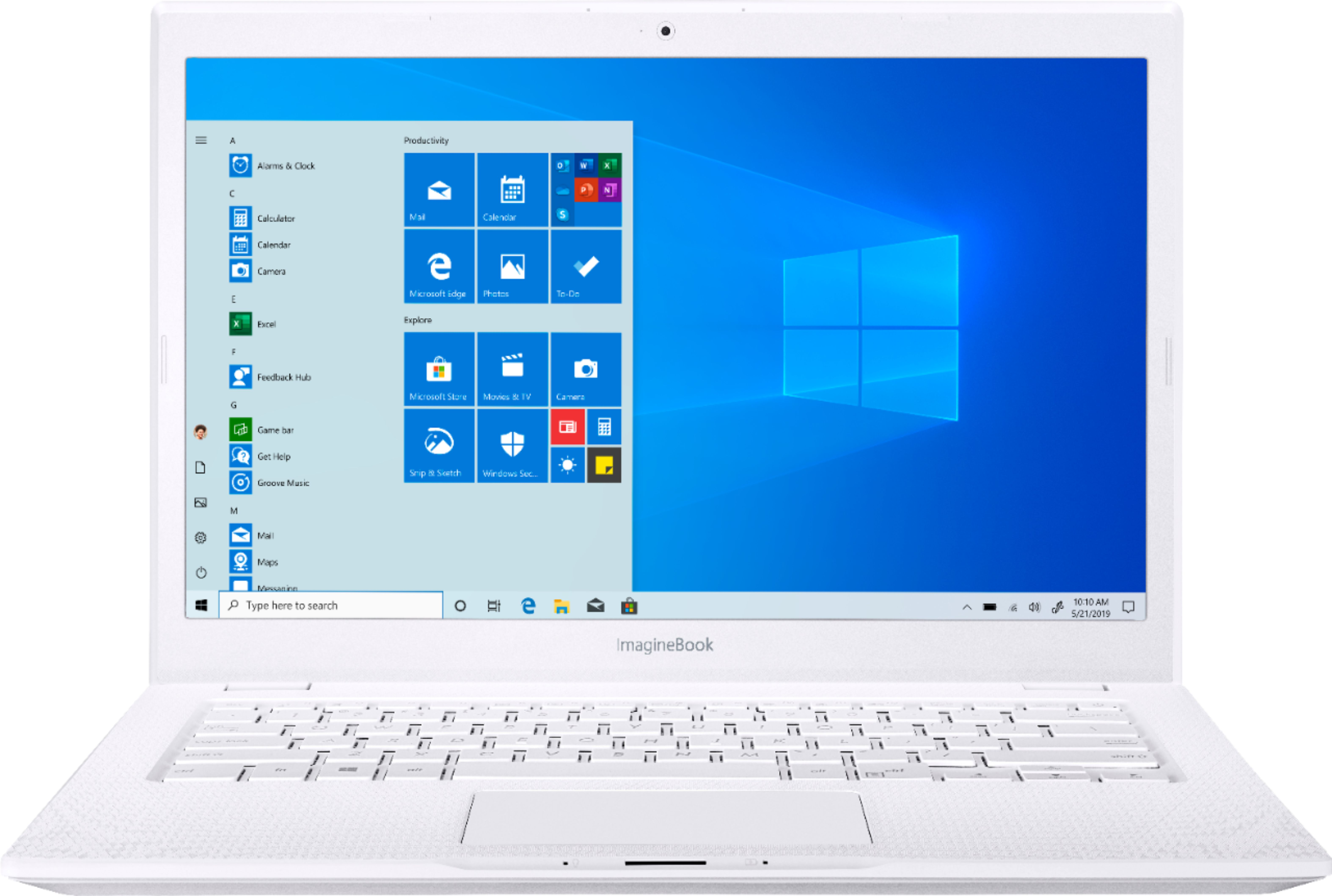 """Front Zoom. ASUS - Geek Squad Certified Refurbished ImagineBook 14"""" Laptop - Intel Core m3 - 4GB Memory - 128GB Solid State Drive - Textured White."""