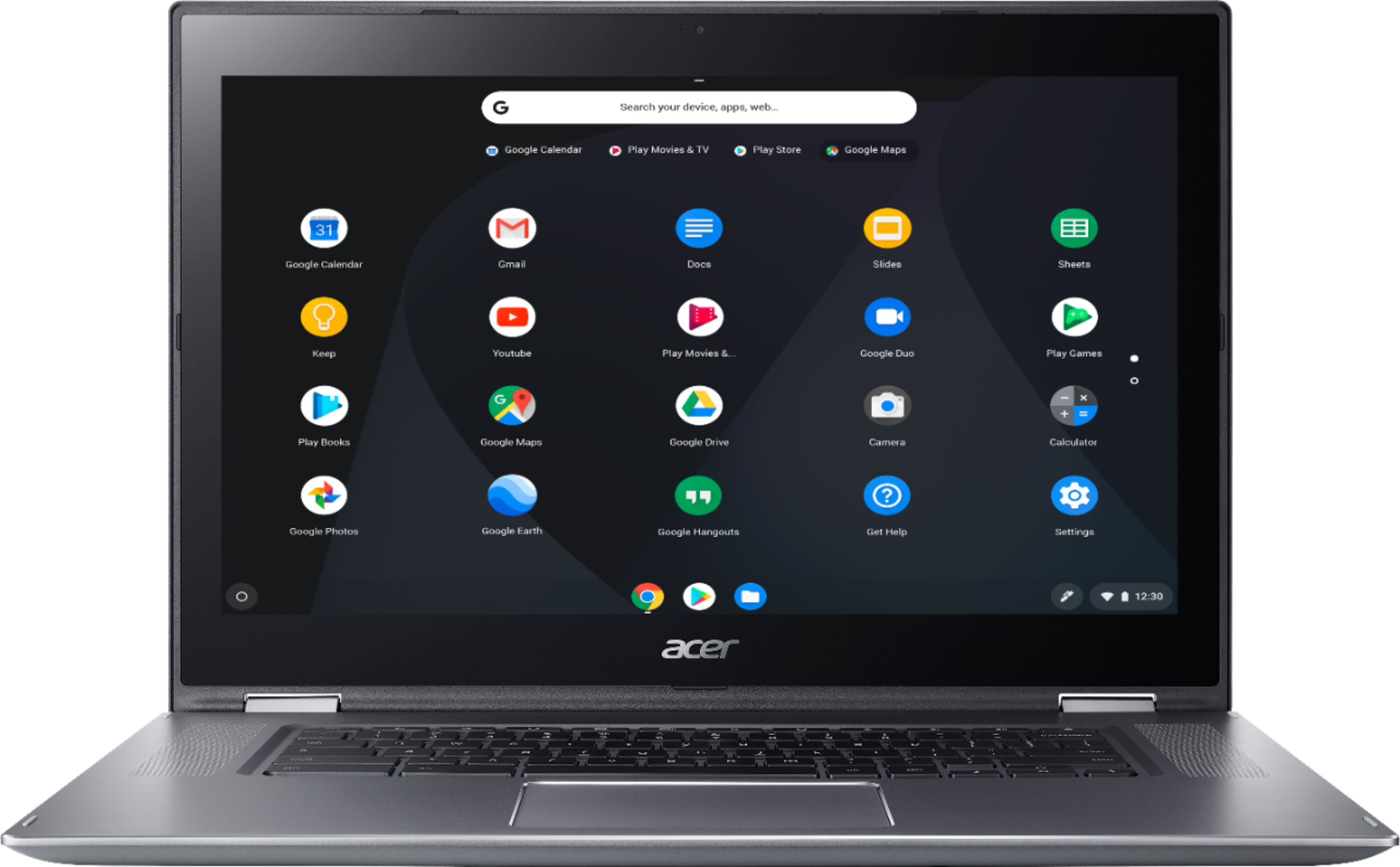 """Front Zoom. Acer - Spin 15 2-in-1 15.6"""" Touch-Screen Chromebook - Intel Pentium - 4GB Memory - 32GB eMMC Flash Memory - Sparkly Silver."""