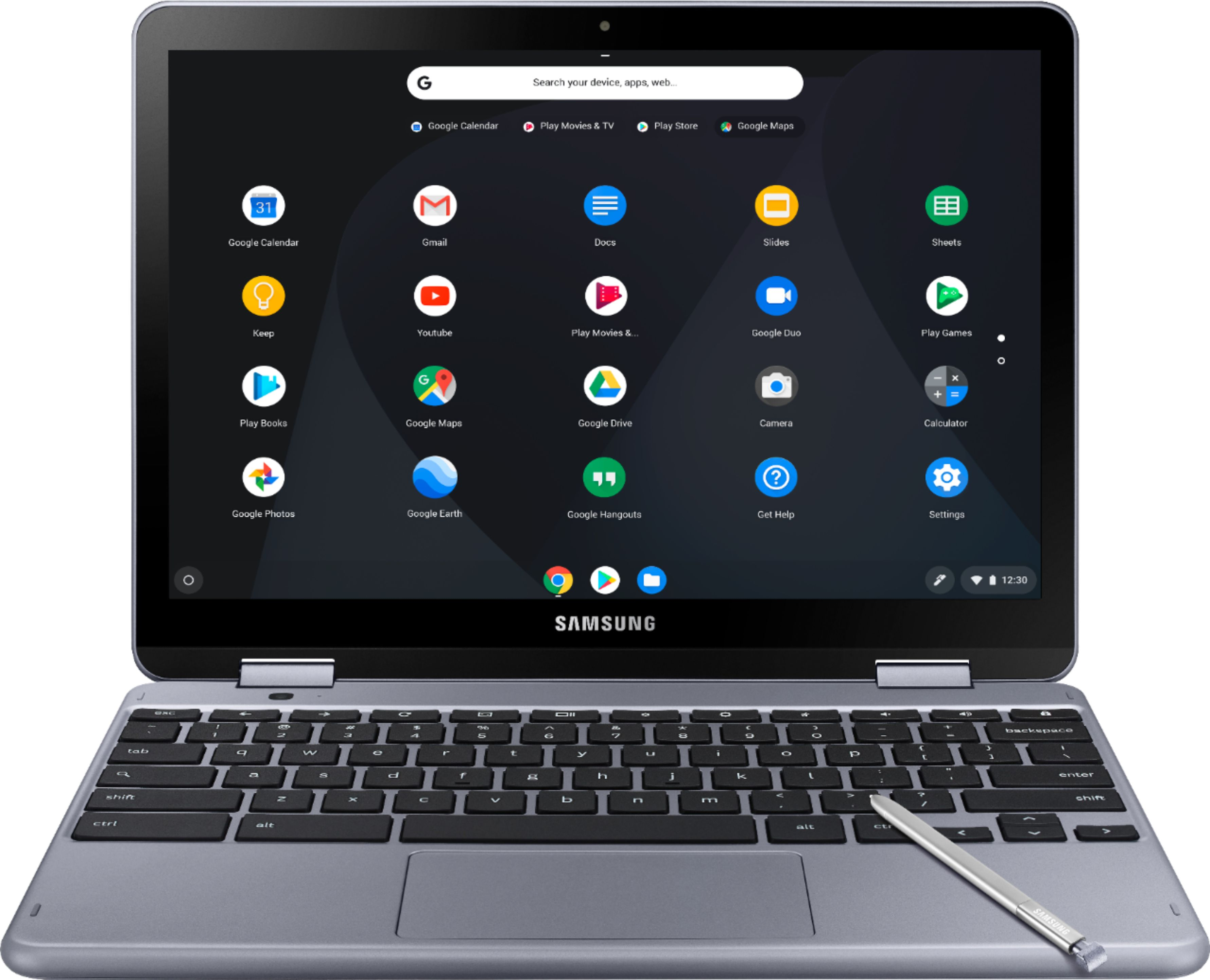 """Front Zoom. Samsung - Plus 2-in-1 12.2"""" Touch-Screen Chromebook - Intel Celeron - 4GB Memory - 32GB eMMC Flash Memory - Stealth Silver (Verizon)."""